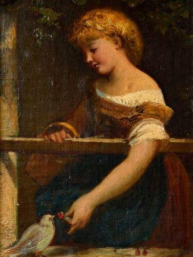"""Henri PICOU (1824 1895)  """"fillette à la fenêtre""""  Huile sur toile marouflée sur …"""