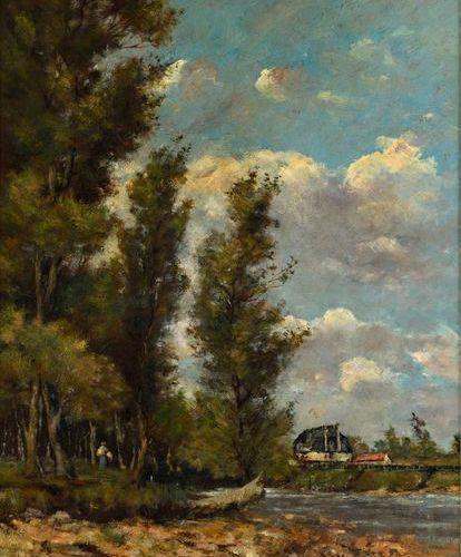 "Paul Desiré TROUILLEBERT (1831 1900)  ""The picker of faggots by the river""  Oil …"