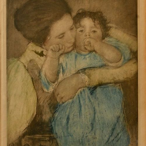 """Mary CASSATT (1844 1926)  """"Mother and child""""  Colour lithography, signed on the …"""