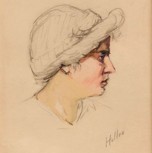 "Paul Cesar HELLEU (1859 1927)  ""Profile of a woman""  Watercolour on charcoal, si…"