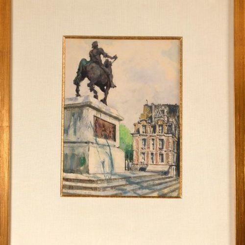 "Alexandre BENOIS (1870 1960)  ""The statue of Henri IV at the Pont Neuf""  Waterco…"