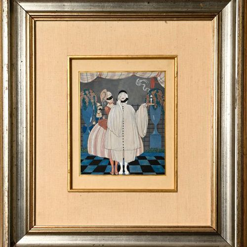 Georges BARBIER (1882 1932)  Pierrot and Columbine  Gouache on paper, signed G. …