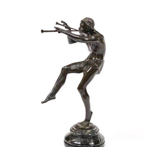 "After Eugène D. PIRON (1875 1928)  ""Faun playing the aulos""  Bronze, brown patin…"