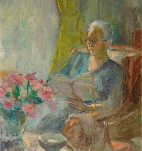 "Christian BERARD (1902 1949)  ""Woman reading""  Oil on panel, signed on the lower…"