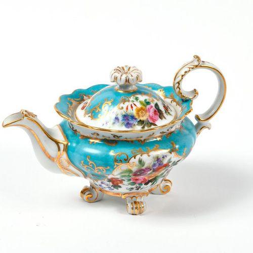 Lot comprenant une théière en porcelaine à décor de fleurs, un petit arbarello e…