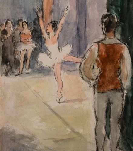 "Charles Emmanuel JODELET (1883 1969)  ""Backstage""  Watercolour and Indian ink, s…"
