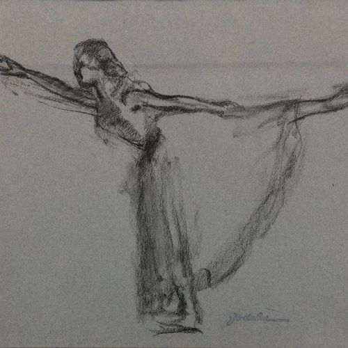 "Charles Emmanuel JODELET (1883 1969)  ""Arabesque""  Charcoal on paper, signature …"