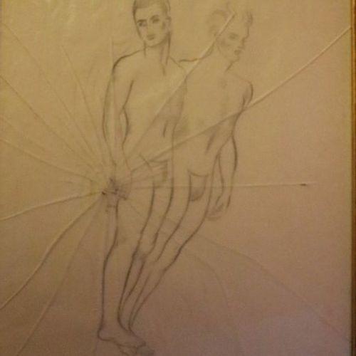 "Valentine HUGO (1887 1968)  ""Two dancers""  Pencil on tracing paper, monogrammed …"