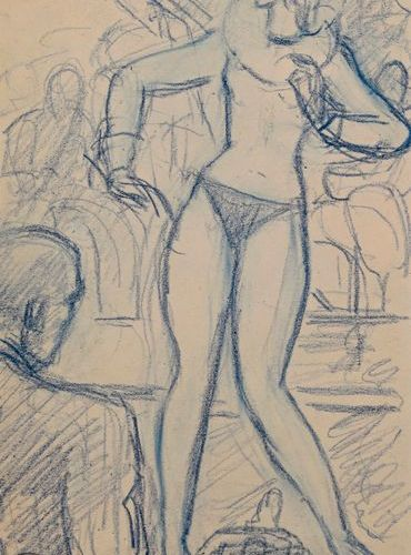 "Gustave FLORO (1885 1965)  ""Revue dancer""  Conté pencil on paper, stamp of the s…"