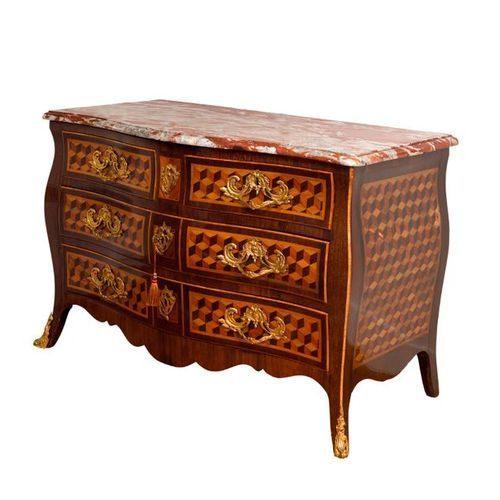 Chest of drawers, inlaid woodwork and veneer wood, curved sides, four drawers, f…