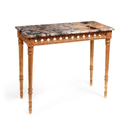 Console table, golden wood, feet imitating quivers, marble platter  Louis XVI st…