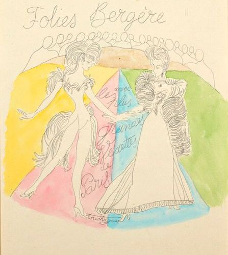"""Louis TOUCHARGUE (1893 1974)  """"Program of the Folies Bergères""""  Pencil and water…"""