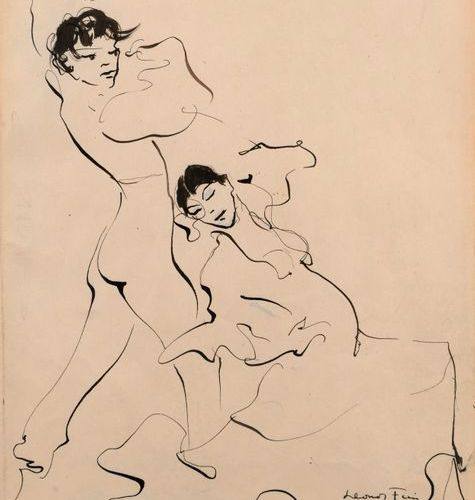 "Léonor FINI (1907 1996)  ""Rosario and Antonio""  Indian ink on paper, signed Léon…"