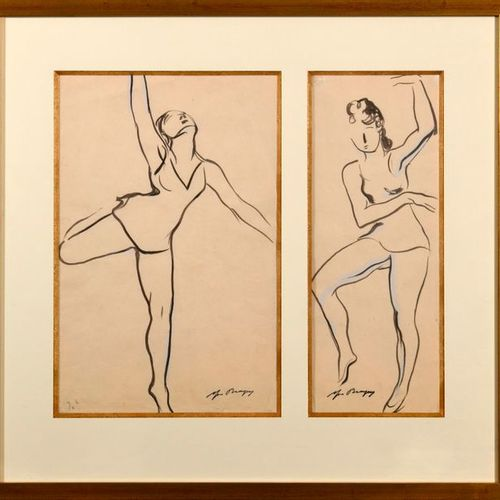 """Yves BRAYER (1907 1990)  """"Two drawings of ballerinas""""  Indian ink, heightened wi…"""