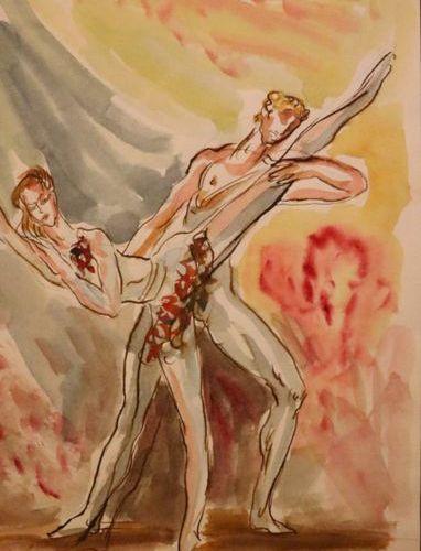 """Damien HERMELIN (1942)  """"Couple de danseurs du Ballet National de l'Opéra de Par…"""