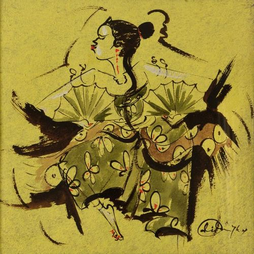 """Modern South East Asian school  """"Balinese dancers with fans""""  Ink, gouache, sign…"""