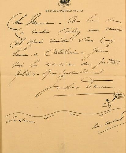 Isadora DUNCAN (1877 1927)  Signed hand written letter on headed paper : ID 68, …