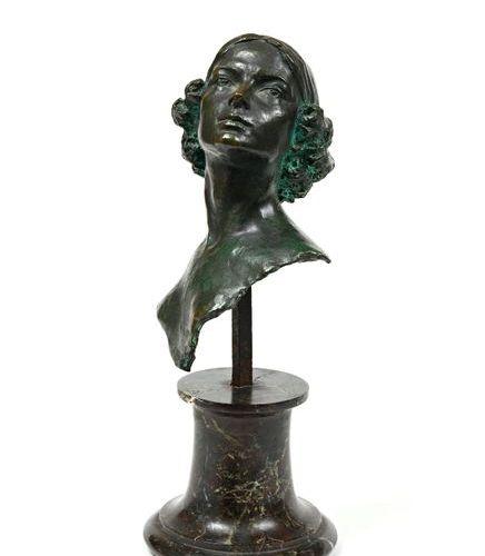 "After Boris FRÖDMAN CLUZEL (1878 1969)  ""Bust of Maria Gorshkova""  Bronze, green…"