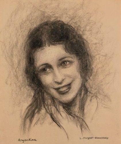 """Lucienne PAGEOT ROUSSEAU (1899 1995)  """"La Argentina (1890 1936)""""  Charcoal, heig…"""