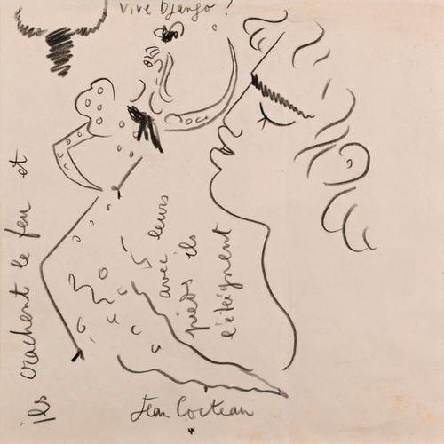 """Jean COCTEAU (1889 1963)  """"Vive Django (1910 1953)""""  Pencil on paper, signed Jea…"""