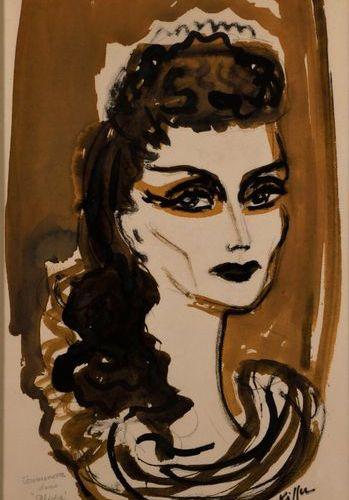 "Charles KIFFER (1902 1992)  ""Tamara Toumanova (1919 1996)""  Wash drawing and Ind…"