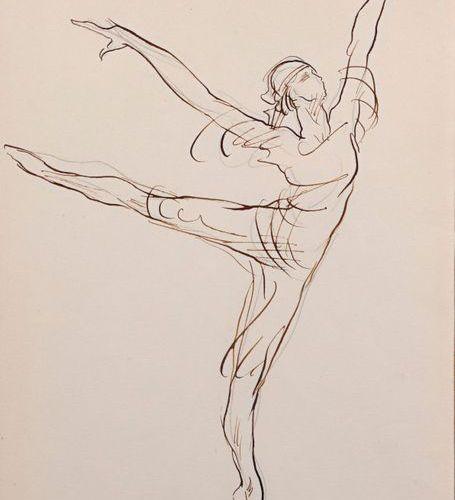 "Damien HERMELLIN (1942)  ""Sylvie Guillem (born in 1965)""  Pencil, fountain pen o…"