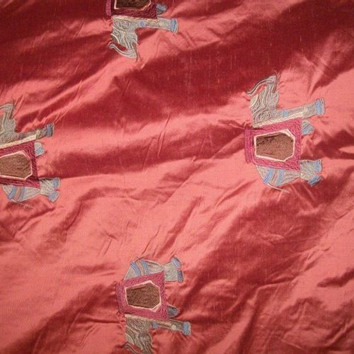 Pair of curtains and a red taffeta mantling embroidered with elephants (spots). …