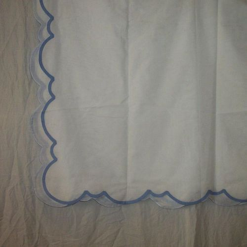 Tablecloth, Porthault house, white cotton voile with blue piping.  2, 50 x 2, 5…