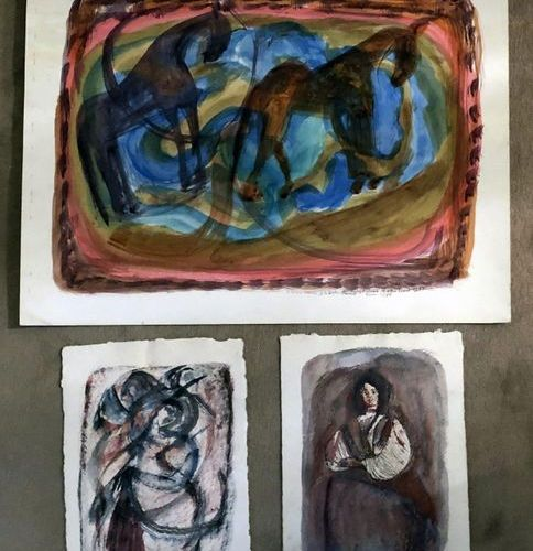 "Magdalena RADULESCU (1902 1982/83)  Three works:   ""Farmer woman""  Watercolour a…"
