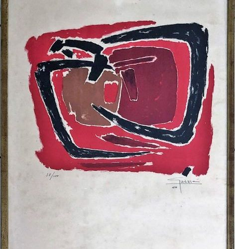 "Antonio GUANSE (1926 2008)  ""Composition in red""  Lithography, signed and dated …"