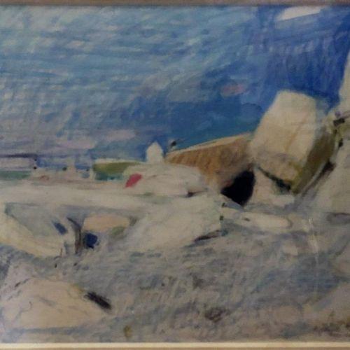 """Henri MALVAUX (1908 1994)  """"The beach at le Touquet""""  Oil pastel on paper, signe…"""