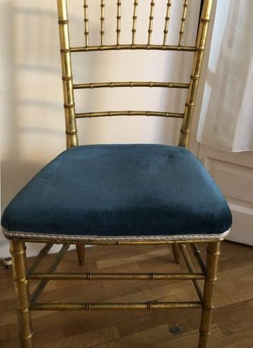 Chair, golden wood, imitating the bamboo  Late 19th century  Seat covered in blu…