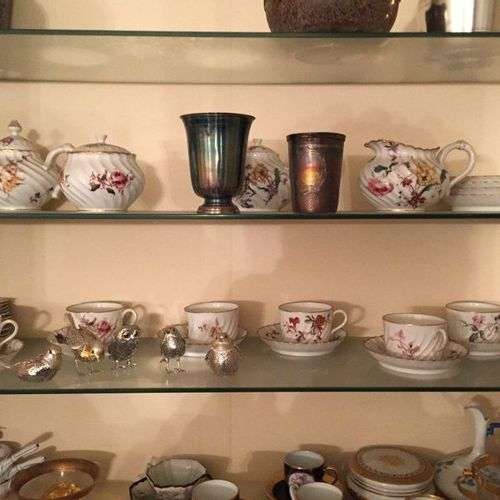 Polychrome porcelain tea and coffee set  Crystal Staircase Paris