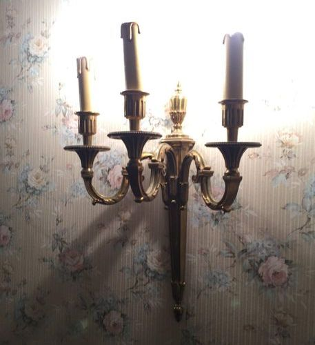 Pair of gilt bronze 3 light arm appliques  Louis XVI style Height 40cm