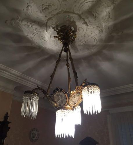 Chandelier in gilt bronze and glass pendants with 3 light arms  Louis XVI style …