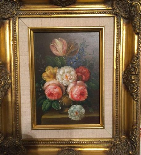 Lot including 2 framed pieces (bouquet of flowers, engraving after the sanguine)
