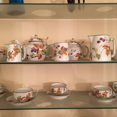 Tea and coffee set in polychrome porcelain decorated with mulberry tree leaves  …
