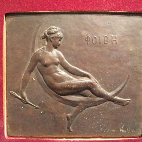 A.MOREAU VOTHIER  Woman on a crescent moon  Bronze plate in a frame 16x18cm