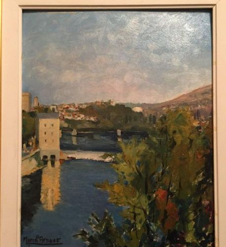 French school with a signature  River, Village at the back  Oil on panel 39x30cm