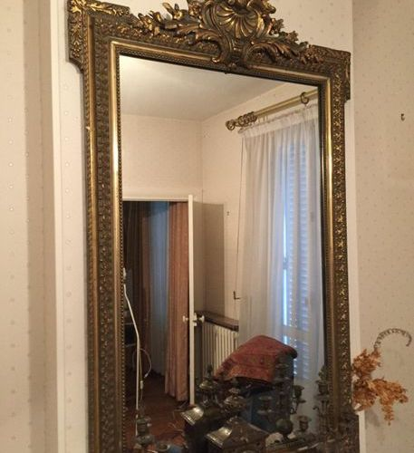 Gilded wood mirror with shell decoration pediment  148x90cm