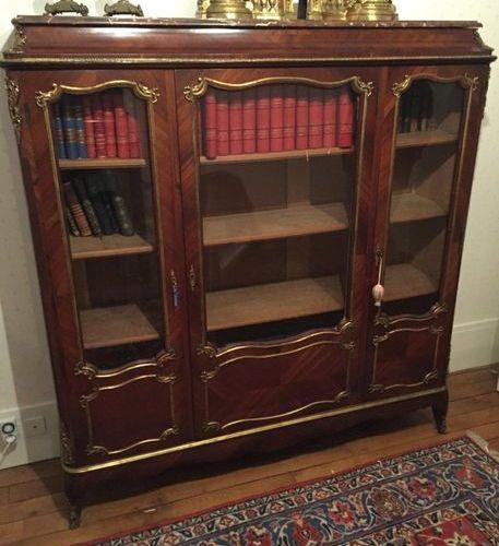 Veneer bookcase with 3 glass doors, gilded bronze trim  Louis XV style  163x150x…