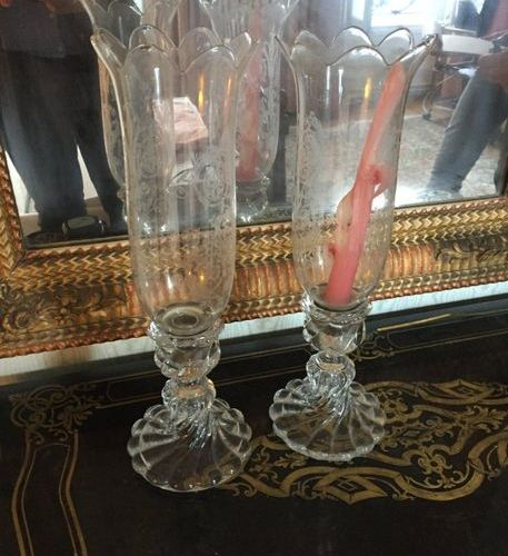 House BACCARAT  Candleholders with torsos ribs, crystal candleholders with cut o…