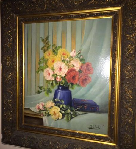 French school with a signature  Bouquet of flowers  Oil on canvas 52x45cm