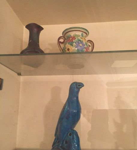 Handle including blue parrot, Vase and vase with 2 handles, Porcelain covered po…
