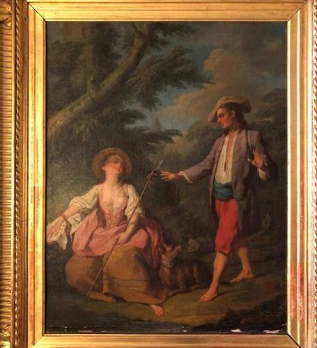 French school from the 18th century  Rencontre Galante  Oil on canvas (re canvas…