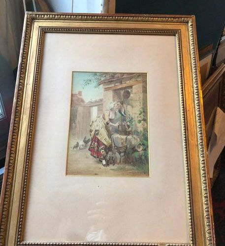 """E. METZMACHER (19th century)  """"Date night.""""  Watercolor signed lower right, date…"""