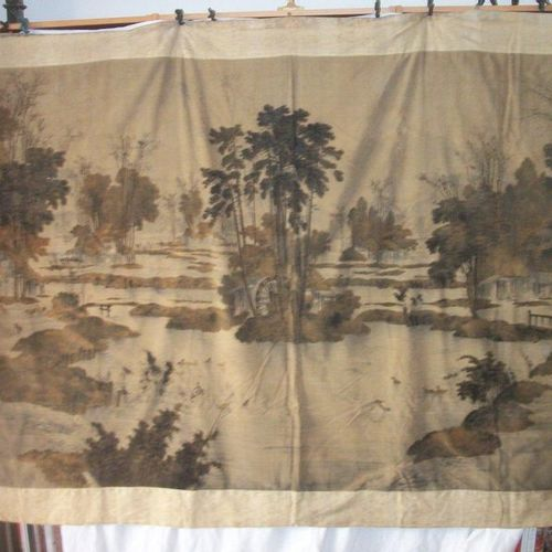 Hanging, Japan, Edo period, 19th century, velvet printed with a lake landscape a…