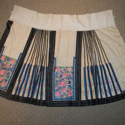 Mang Qun or apron skirt, China, Qing dynasty, circa 1900, tangerine damask embro…