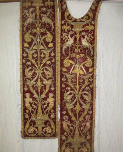 Pair of orphreys, Italy, 16th century, red velvet, gold embroidered, silk and po…