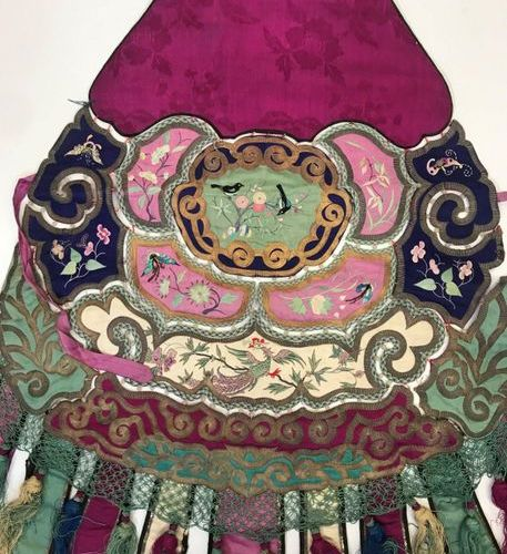 Two Elements of Clothing, China, Qing Dynasty, 19th century, coloured satin band…